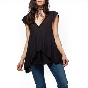 New Free People Black Mary Anne Short Sleeve Top